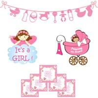Baby girl announcement kit
