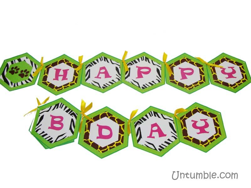 Jungle Birthday Supplies theme Happy Birthday Banners
