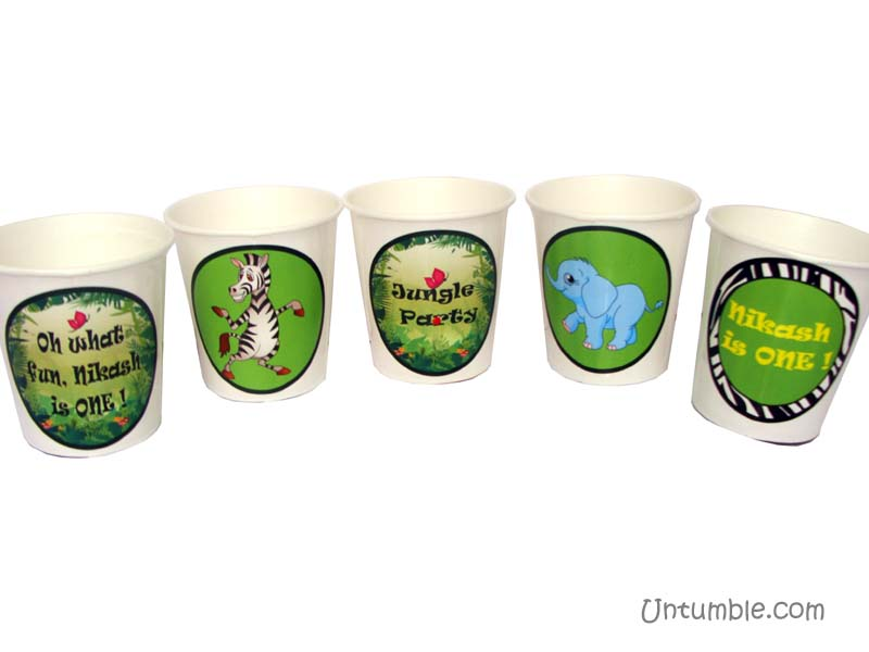 Jungle Birthday Supplies theme Cups - Theme based