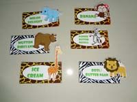 Jungle Birthday Supplies theme Food labels