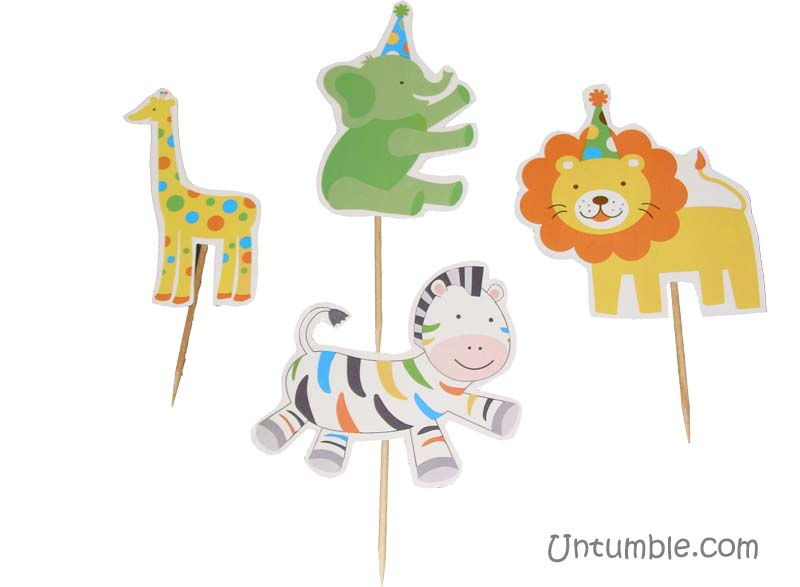 Jungle Birthday Supplies theme Cup cake toppers