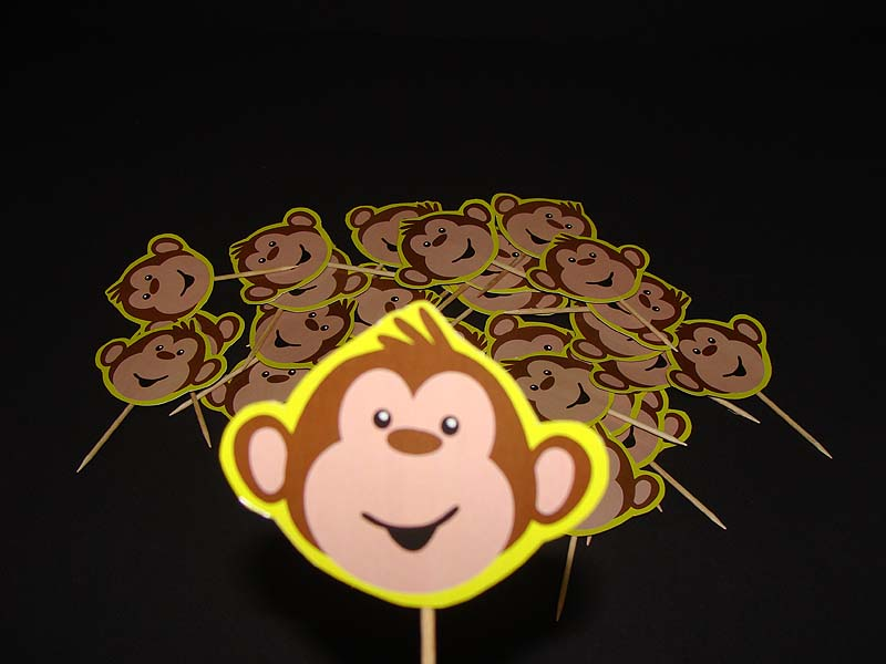 Monkey Birthday theme Cup cake toppers