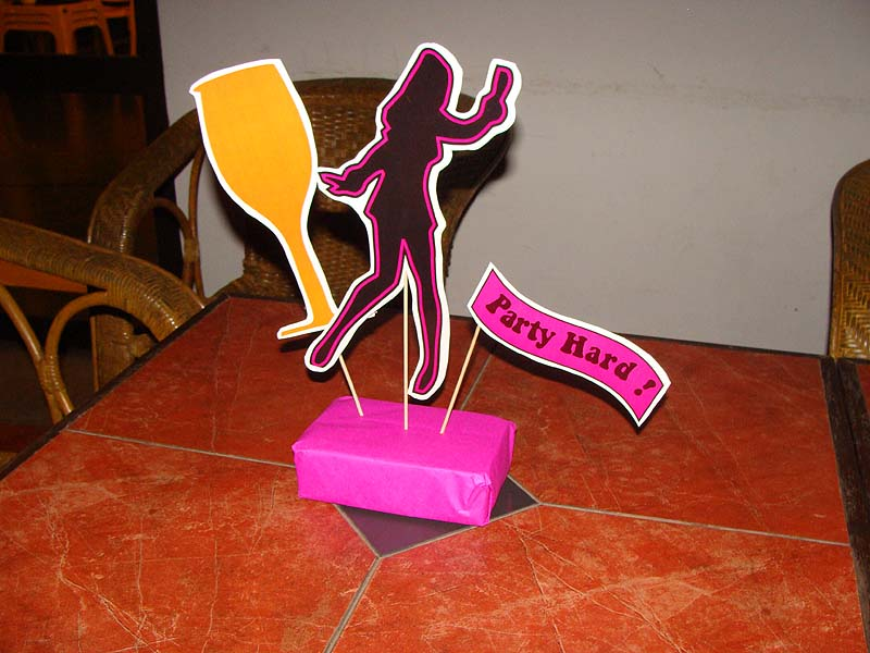 Pink dancing neon theme centerpiece