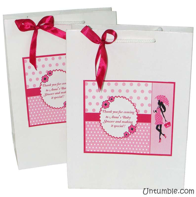 Pink & Blue Babyshower theme Stickered gift bags