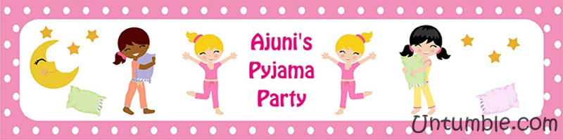 Pyjama party theme Water bottle wrappers