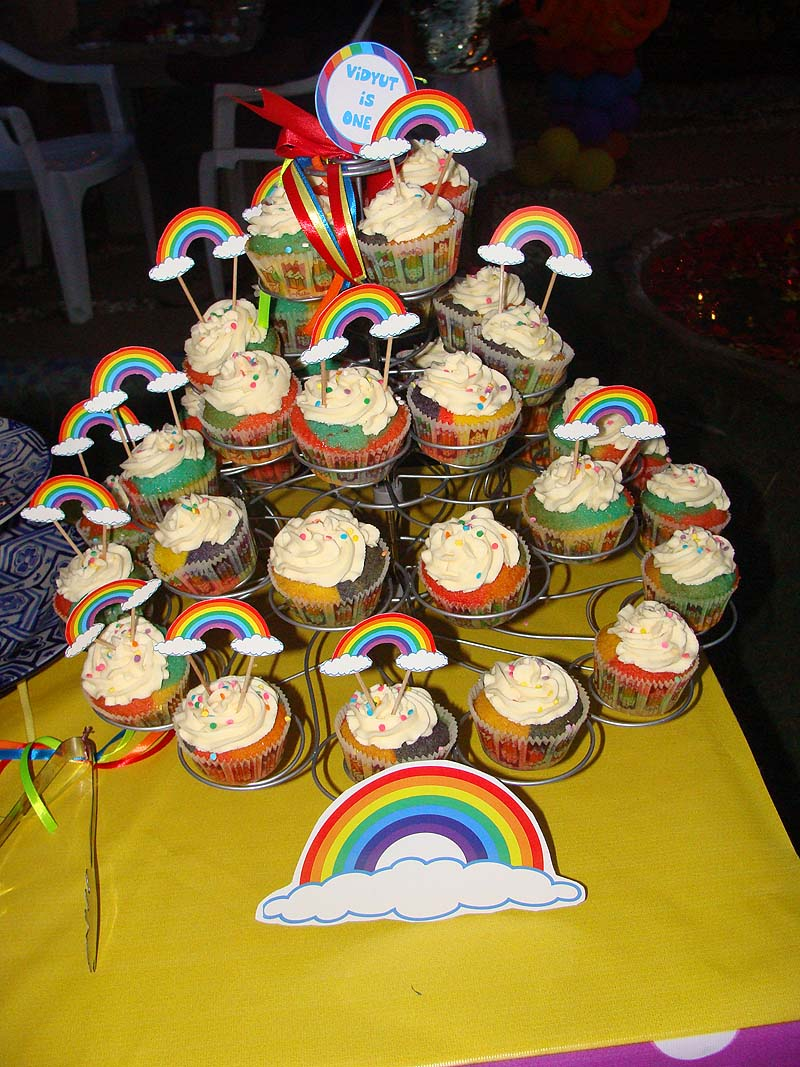 Rainbow Birthday theme Cup cake toppers