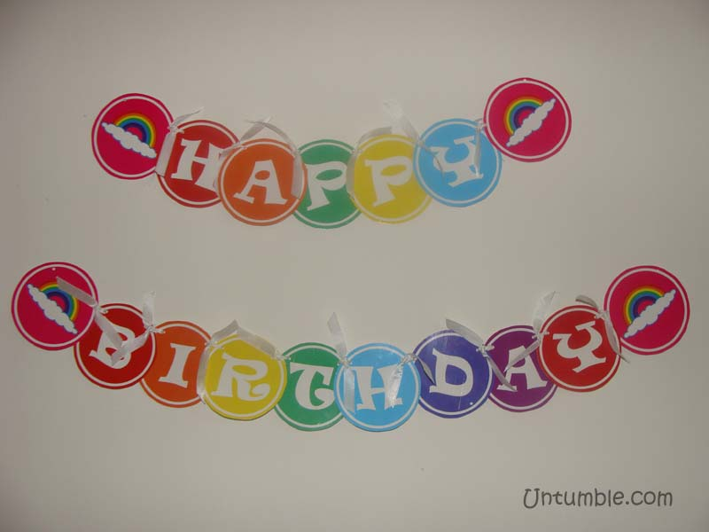 Rainbow Birthday theme Happy Birthday Banners