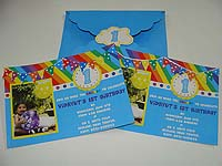 Rainbow invitation with 3D work