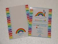 Rainbow birthday invitation with custom envelope