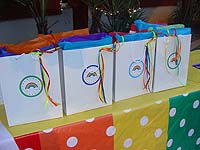 Stickered gift bags with ribbon