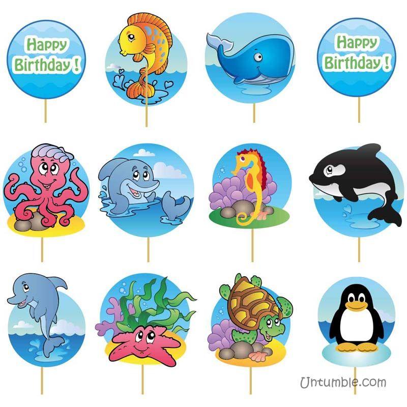 Underwater birthday theme Cup cake toppers