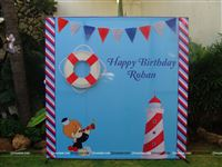 A cute sailor theme backdrop for your little sailor man.