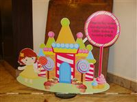 A candy land  entrance cutout to welcome your little guests