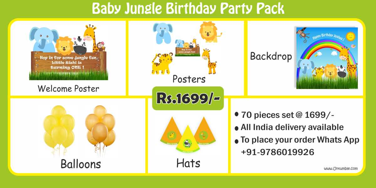 Baby Jungle Birthday Party Pack
