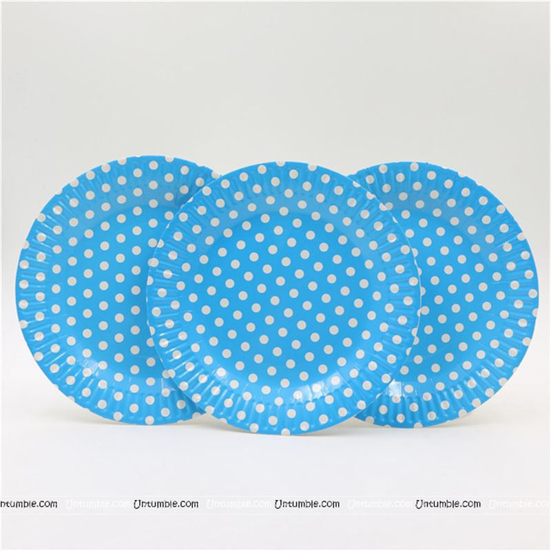 Birthday Party Plate - Blue and white polka