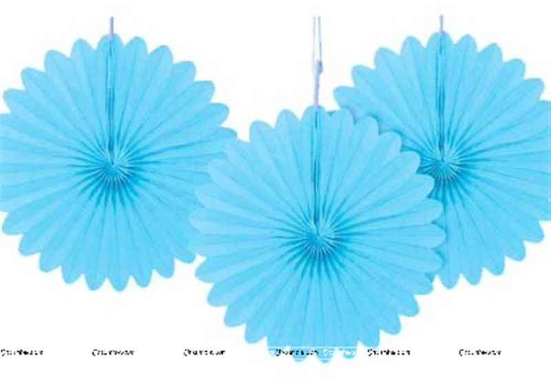 Blue  15cm - set of 5 Paper Fan Decoration