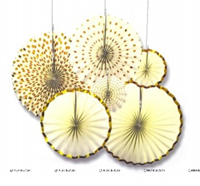 Cream and Gold Paper fan set of 6