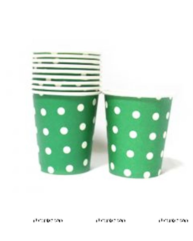 Dark Green & White Polka Paper Cups