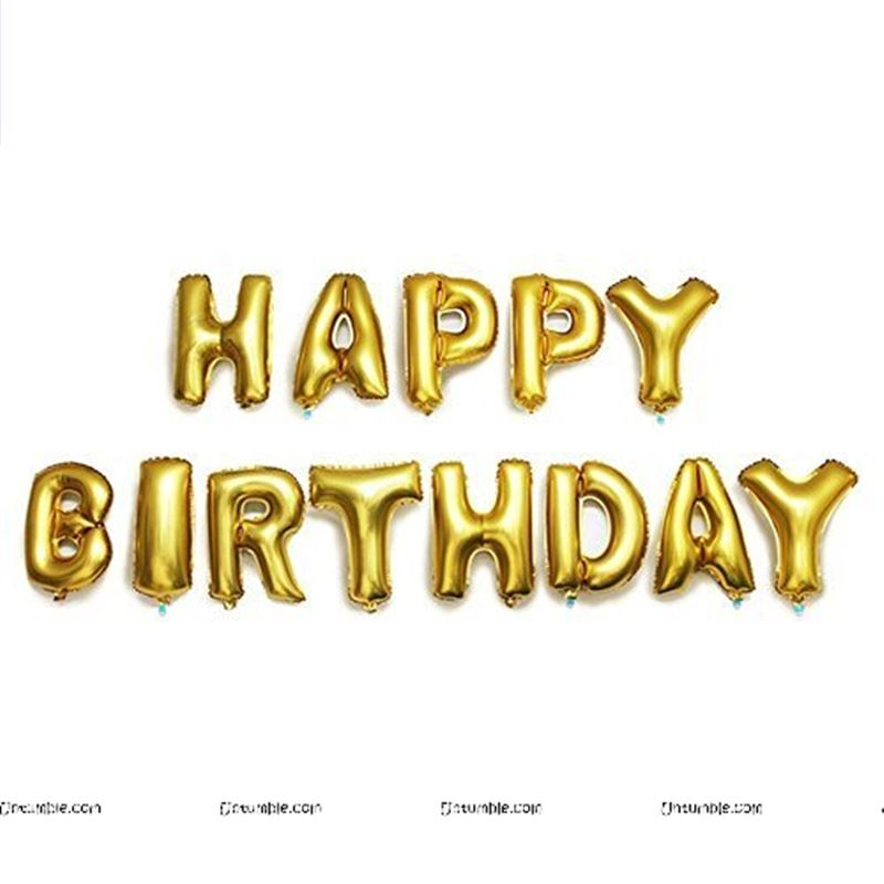 Happy Birthday balloon Alphabets (Gold foil)