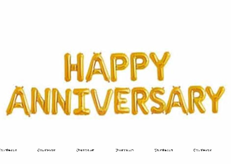 Happy Anniversary Balloons (Gold)