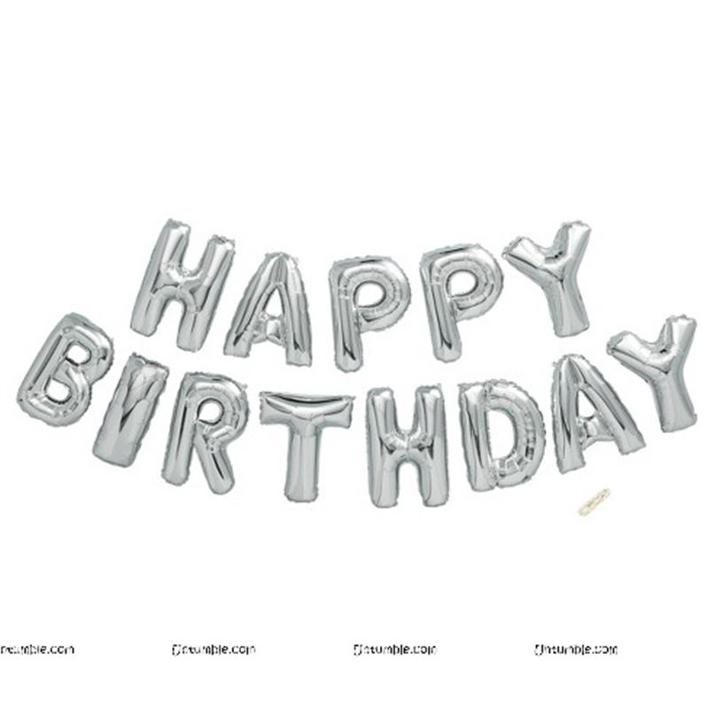 Happy Birthday balloon Alphabets (Silver foil)