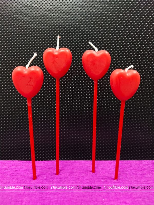 Heart Shaped stick Candles (Pack of 4 )