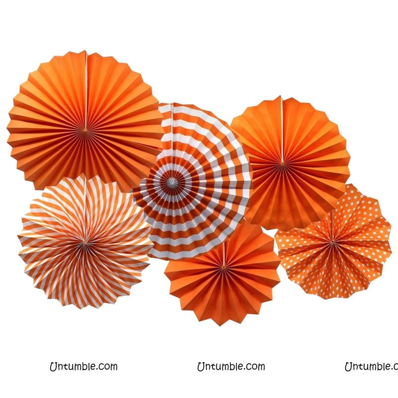 Orange Paper Fan Decorations