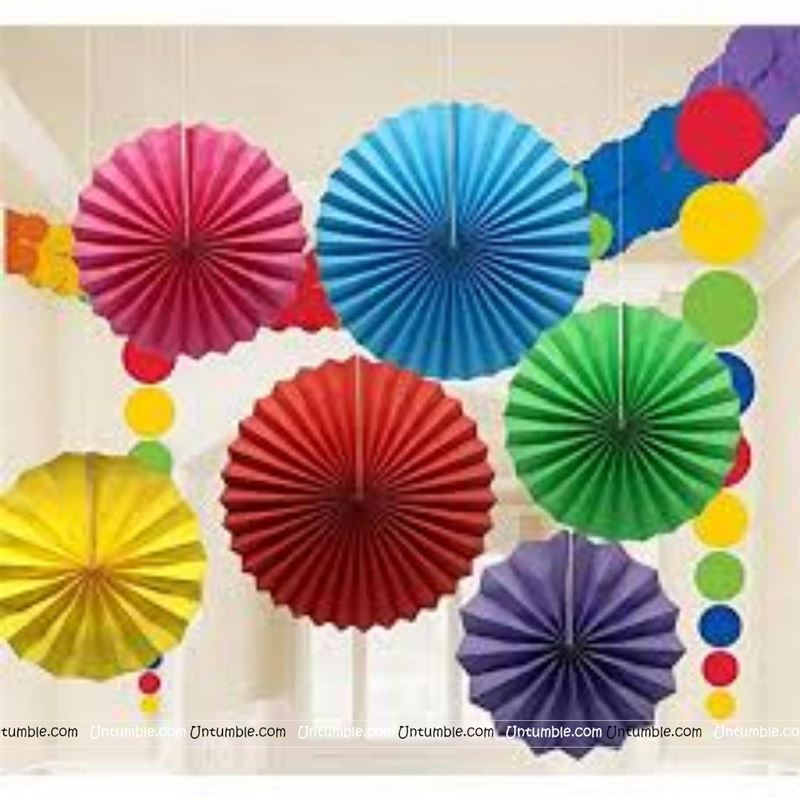 Multi color Paper Fan Decoration