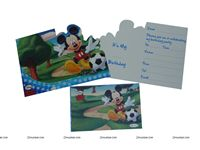 MICKEY DIE-CUT INVITATION & ENVELOPES