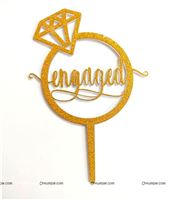 Engaged Cake topper Gold