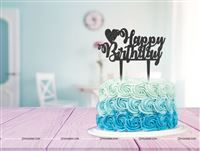 Happy Birthday Heart  Cake topper Black