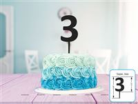 Three Cake Topper (Black)