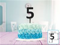 Five Cake Topper (Black)