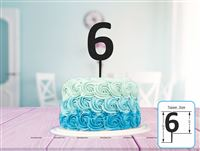 Six Cake Topper (Black)
