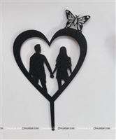 Heart couple cake topper (Black)