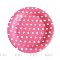 Birthday Party Plate - Pink and white polka