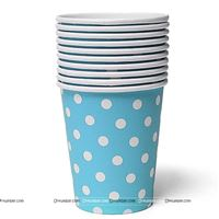 Blue & white polka paper cups