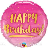 Happy Birthday Pink & Gold Foil balloon (18 inch)
