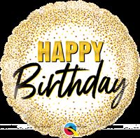 Happy Birthday with gold glitter dots (18 inch)