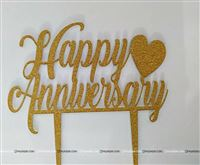 Happy Anniversary Topper (Gold)