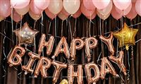 Happy Birthday Foil Balloon Decor Pack - Rose Gold (Pack of 53 pcs)