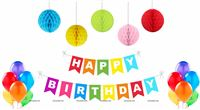 Multicolor Paper Ball Birthday Decor Kit (Pack of 16 pcs)
