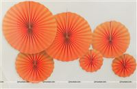 Orange party decoration Paper fan kit - 6pcs