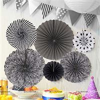 Black & white party decoration paper fan kit