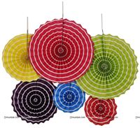 Rainbow Colored 4 party decoration Paper fan kit - 6pcs