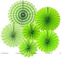 Green party decoration Paper fan kit - 6pcs