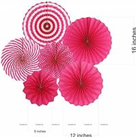 Pink party decoration Paper fan kit - 6pcs
