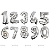 Silver Number Foil balloons