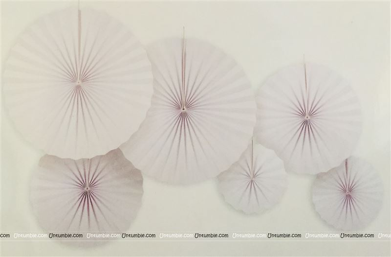 White party decoration Paper fan kit - 6pcs