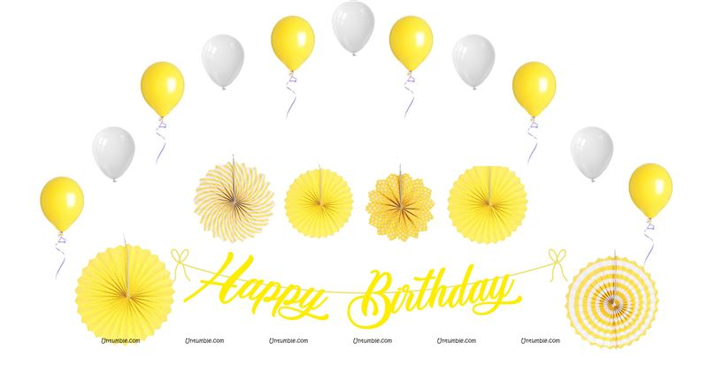 Yellow Birthday Decoration Kit (Pack of 27 pcs )